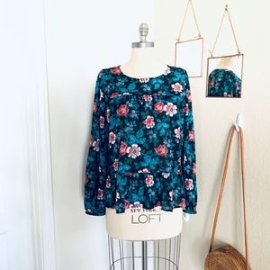 LOFT L/S Floral Round-Neck Tiered/Pleated Blouse